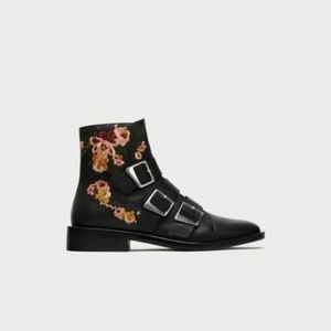Zara Size 6 Embroidered Leather Ankle Boots